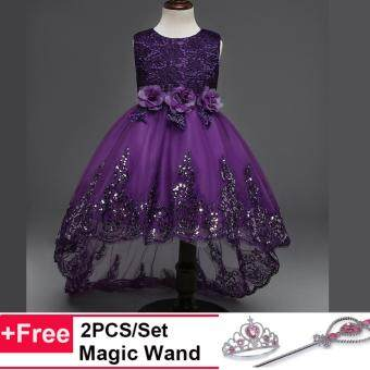Princess Flower Girl Dress For Wedding Party Bridesmaid Kids BowTrailing Lace Tulle Tutu Dress - intl