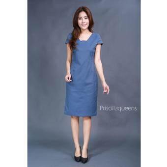 Priscilla Queen เดรสคอเหลี่ยมรุ่น 8570-สีฟ้า