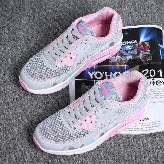 เบาะลมรองเท้าฤดูใบไม้ผลิและฤดูร้อนปลั๊กใหม่ตาข่าย (รุ่นหญิง + สีเทาสีชมพู)