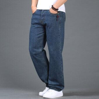ฤดูใบไม้ร่วงและฤดูหนาวชายคนอ้วนกางเกงยีนส์เอวสูงผ้ายีนส์กางเกง (สีน้ำเงินเข้ม)