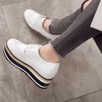 เกาหลีหนังฤดูใบไม้ร่วงใหม่หนักต่ำสุดรองเท้ามัฟฟินรองเท้า (สีขาวสีดำ)