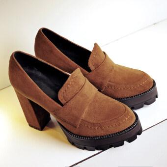 อังกฤษหญิงฤดูใบไม้ผลิรอบใหม่หนากับรองเท้าส้นสูงรองเท้าเดียว (อูฐ)