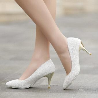 สีขาวเพศหญิงส้นสูงคริสตัลรองเท้าเจ้าสาวรองเท้าแต่งงาน (สีขาว)