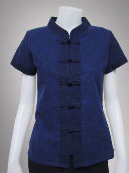 เสื้อม่อฮ่อม คอจีนกระดุมจีน หญิง เข้ารูป กระดุมตรง