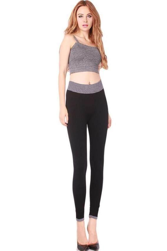 ยางยืดกางเกงสตรีหญ้าคาสูงผอมสวมกางเกงกางเกงออกกำลังกายสีดำ