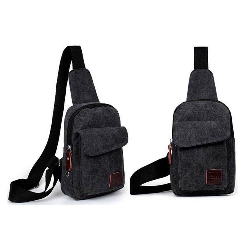 สบายกระเป๋านักเรียนชายหญ้าคาใบกระเป๋าสะพายกระเป๋าคล้องไหล่ท่องเที่ยวกลางแจ้งกระเป๋าหน้าอก (สีดำ)