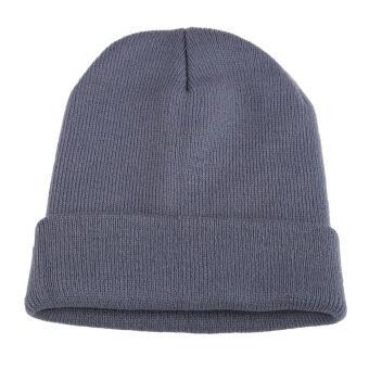 หญิงชายหมวกหมวกไหมพรมสำหรับเล่นสกีฮิปฮอปสวมหมวกผ้าขนสัตว์อุ่นเพศสีเทาอ่อน