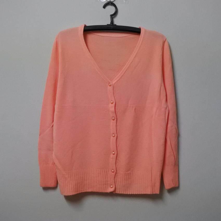 เสื้อคลุมคาร์ดิแกนไหมพรม กระดุมมุก จัมโบ้ สีส้มพาส