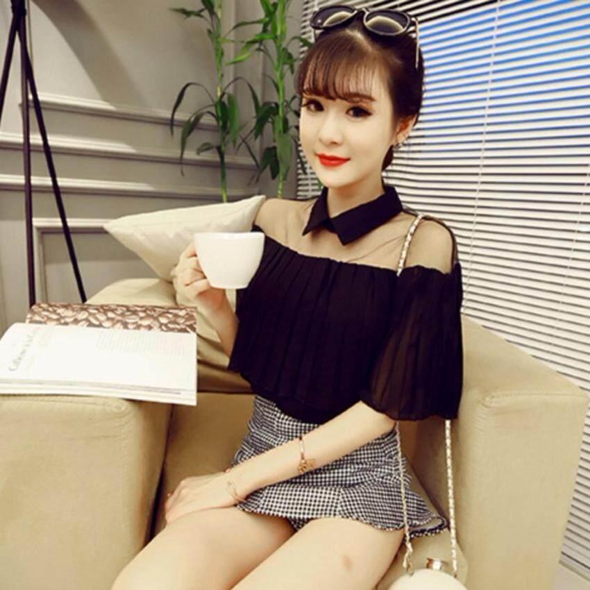 เสื้อแฟชั่นผ้าชีฟองอัดพลีท (สีดำ)