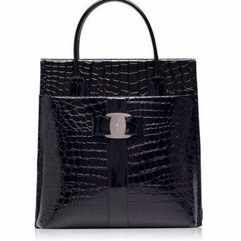 กระเป๋าถือ-คล้องแขน ลายหนังจรเข้หรู สีดำ