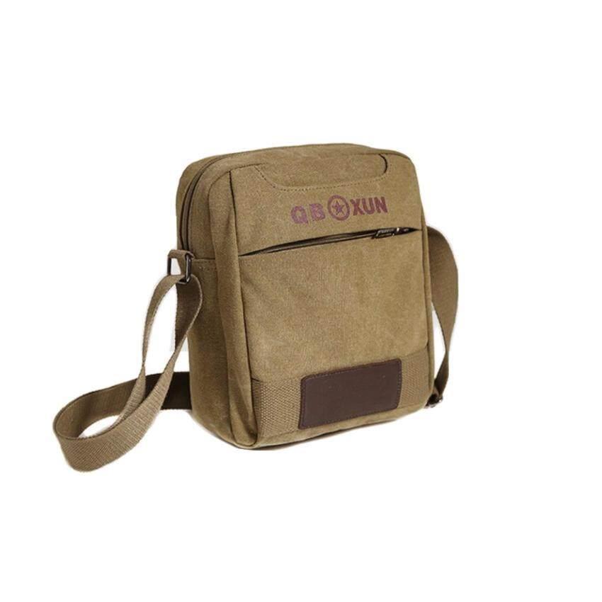 กระเป๋าสะพายข้าง ผ้าแคนวาส (สีน้ำตาลอ่อน)