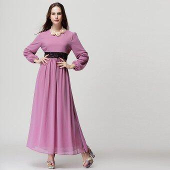 แขนยาว เอวสูง แฟชั่นเสื้อผ้ามุสลิม ( สีม่วง )