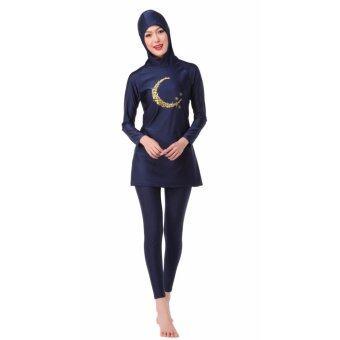ชุดว่ายน้ำชุดว่ายน้ำมุสลิมชุดว่ายน้ำใหม่ชุดว่ายน้ำสีส้มดำ
