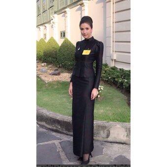 ชุดไทยจิตรดา ชุดงานพระราชพิธี ชุดไทยจิตลดา -สีดำ