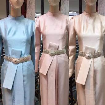 ชุดไทยบรมพิมานแบบดั้งเดิม ใส่ออกงาน ต่างๆ งานแต่ง งานบวช งานมงคลพระราชพิธี - สีชมพู