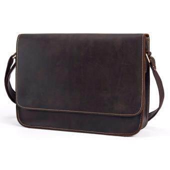 กระเป๋าหนังสะพายข้าง หนังวัวเเท้ สีดำ