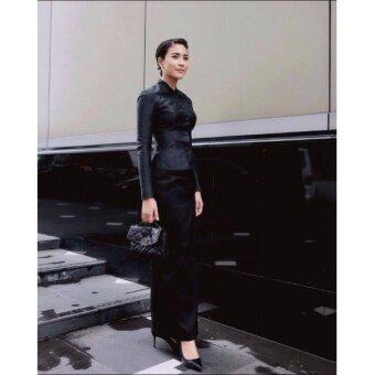 ชุดไทยจิตรดา งานทอผ้าไหมอิตลี่สุดหรู ชุดงานพระราชพิธี ชุดไทยจิตลดา-สีดำ