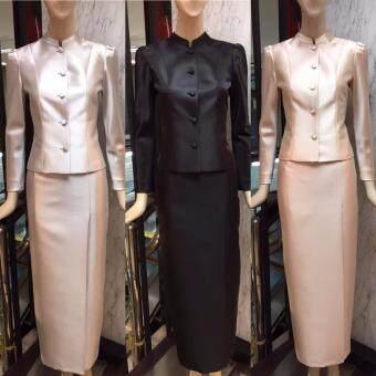 ชุดไทยจิตรลดา ผ้าไหมอิตาลีสุดหรู เกรดพรีเมี่ยม ชุดพระราชพิธีบ่ายกจีบ ทรงสวย จิตรดา งานมงคล พระราชพิธี -สีดำ