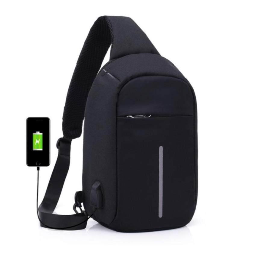 กระเป๋าสะพายข้างกันขโมย สีดำ