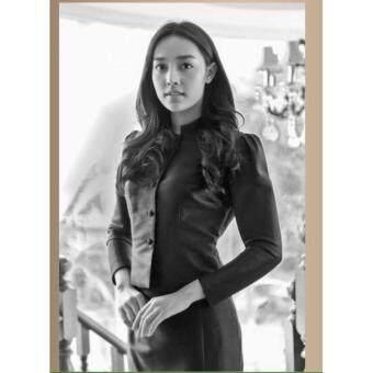 ชุดดำ ชุดไทยจิตรดา ชุดไว้อาลัย จิตลดา-สีดำ ผ้ากระรอก