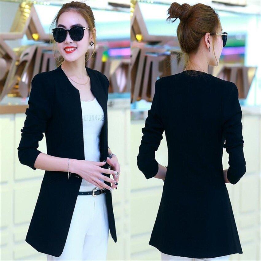 ชุดสตรีสไตล์เกาหลีชุดลำลองสูทแจ็คเก็ตยาวเสื้อสูทผู้หญิงสูทเสื้อโค้ท