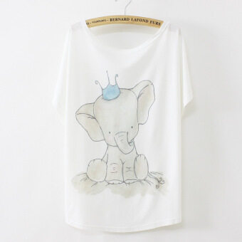 มงกุฎเกาหลีพิมพ์ลูกช้างเสื้อยืด (มิลค์กี้สีขาว)