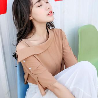 product 1507100698 54992494 84515c5f322bbfe518743cbc09bf3687 product ซื้อสินค้าดี เสื้อชีฟองสตรีคอปาด ทำให้ดูผอม สไตล์เกาหลี  สีกากี