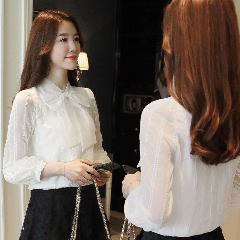 หวานสีขาวเพศหญิงในฤดูใบไม้ร่วงเสื้อชีฟองแขนโคมไฟเสื้อชีฟอง (สีขาว)