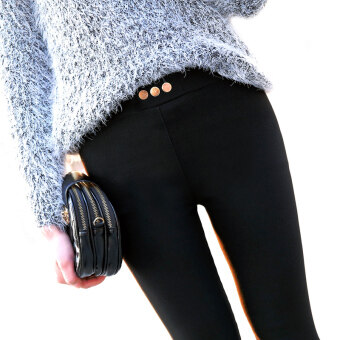 สีดำผอมเอวยาวกางเกงยืดหุ้มขา (สีดำ (ไม่กำมะหยี่))