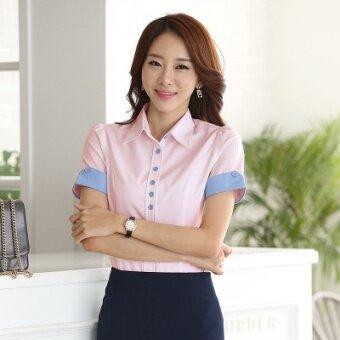 product 1507127880 29895594 64ebb9b38df23aefcc665a2895eb2646 product หาซื้อได้ที่ไหน บ้านเกาหลีหญิงผอมเสื้อผู้หญิงเสื้อเสื้อเชิ้ตสีขาว  สีชมพูแขนสั้น []