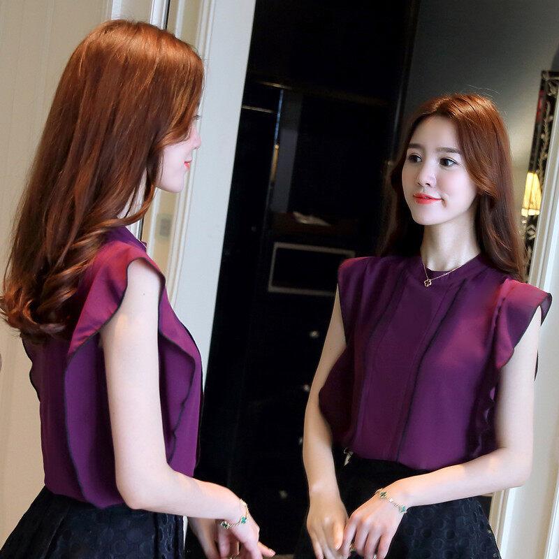 หญิงแขนกุดสีขาวผ้าชีฟองเสื้อเสื้อชีฟอง (สีม่วง)