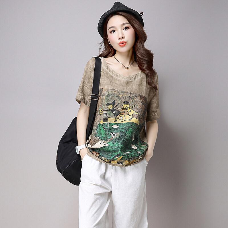 เสื้อยืดเกาหลีผ้าฝ้ายเสื้อการ์ตูนแฟลกซ์ (สีน้ำตาล)