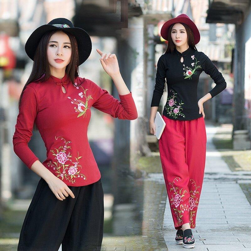 ขาย รอยัลลมแห่งชาติใหม่ปักเดิมหญิงเสื้อผ้าฝ้ายเสื้อยืด (ไวน์แดง)