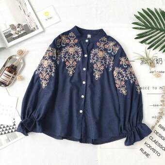product 1507162422 60602794 0ed36112dee1e165cf8dcf9bde190e4c product ซื้อออนไลน์ ฮาราจูกุวิทยาลัยเย็บปักถักร้อยหญิงหูไม้เสื้อเสื้อ  สีน้ำเงินเข้ม