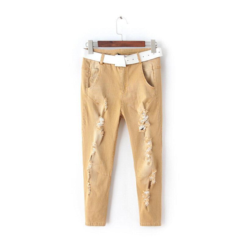 นอกเก้าแต้มกางเกงยีนส์ของผู้หญิงฟุตกางเกง (สีเหลือง)