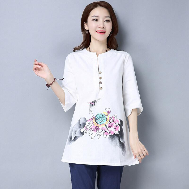 ผ้าลินินหลาใหญ่มือวาดคอวีแขนห้าหญิงเสื้อ (สีขาว)