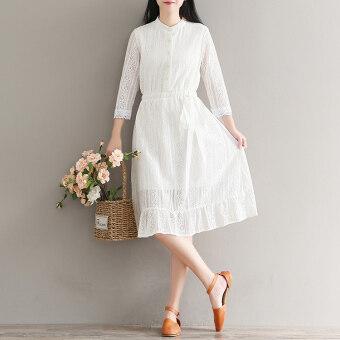 หญิงบางลูกไม้ยาวกระโปรงเสื้อเชิ้ตสีขาว (สีขาว)
