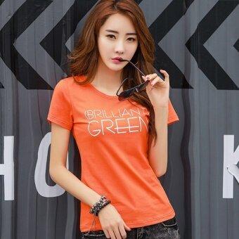 ผ้าฝ้ายเกาหลีแขนสั้นเสื้อยืดหญิงฤดูร้อน (สีส้ม)