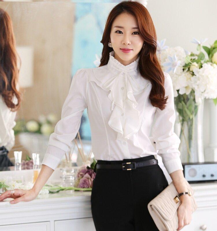 เสื้อชีฟองสีขาวเสื้อหลวมอาชีพสลิม (สีขาว)