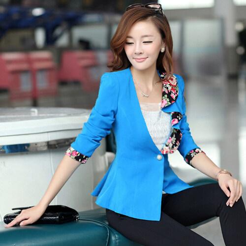 เกาหลีใหม่หญิงแขนยาวชุดเล็ก (สีฟ้า)