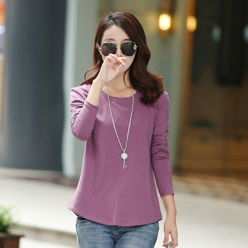 หลวมเกาหลีสีทึบฤดูใบไม้ผลิและฤดูใบไม้ร่วงใหม่เสื้อยืด (เข้มสีชมพู)
