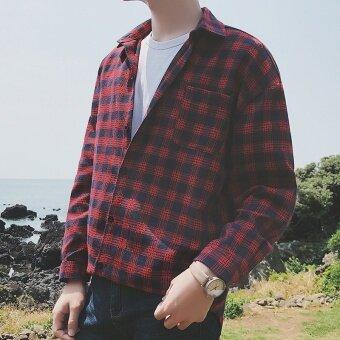 ฤดูใบไม้ร่วงใหม่ลมลายสก๊อตผ้าฝ้ายลำลองเสื้อ (สีแดง)