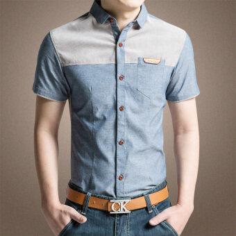เวอร์ชั่นเกาหลีชายปลูกฝังเยาวชนฝ้ายเสื้อแขนสั้นเสื้อ (สีสีฟ้า)