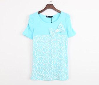 product 1507247000 91808805 7e016f59b02e227ebc7af38c046dcbfa product ราคาสินค้า ง่ายผ้าฝ้ายลูกไม้ขนาดใหญ่เสื้อยืดเสื้อยืด  ท้องฟ้าสีฟ้า