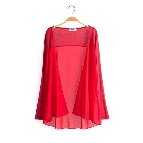 เสื้อแขนยาวสตรีผ้าชีฟองแบบหลวมสบายยาวประมาณเข่า (สีแดง)