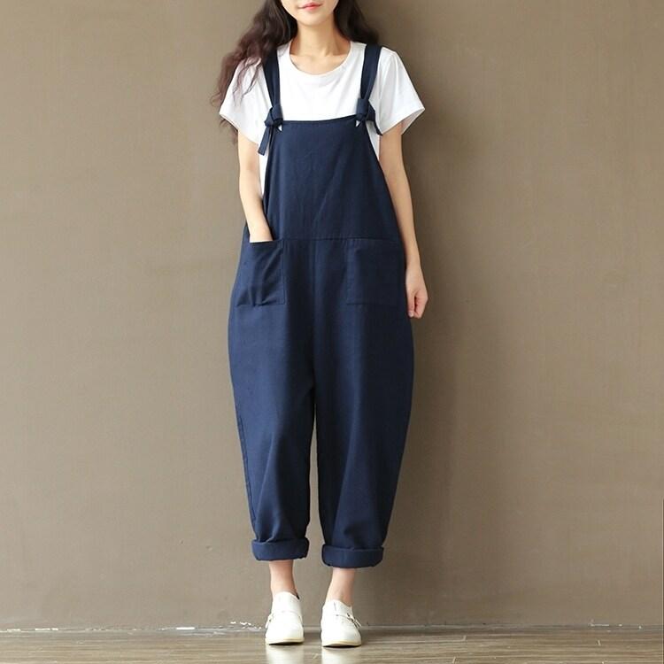 สายรัดกางเกงเสนหญิงฝ้ายสีน้ำเงินเข้มหลวมหลาใหญ่กางเกงขายาวกางเกงขายาวสบายๆสยาม (สีน้ำเงินเข้ม)