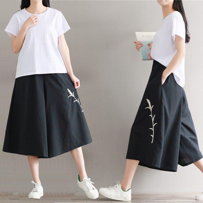 กางเกงย้อนยุคปักกางเกงขากว้างป่าหลวม (สีดำ)