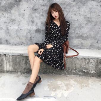 ออลจังเวอร์ชั่นเกาหลีเอวสูงอารมณ์คอวีชุดสายผู้หญิงกระโปรง (สีรูปภาพ)