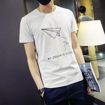 ดยุคบุคลิกภาพชายแขนสั้นสลิมพิมพ์เสื้อยืดเสื้อยืด (สีขาว) (สีขาว)