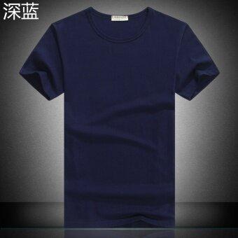 ผ้าฝ้ายสีขาวในช่วงฤดูร้อนเสื้อคอกลมแขนสั้นผู้ชายเสื้อยืด (ว่างเปล่า-สีน้ำเงินเข้ม)